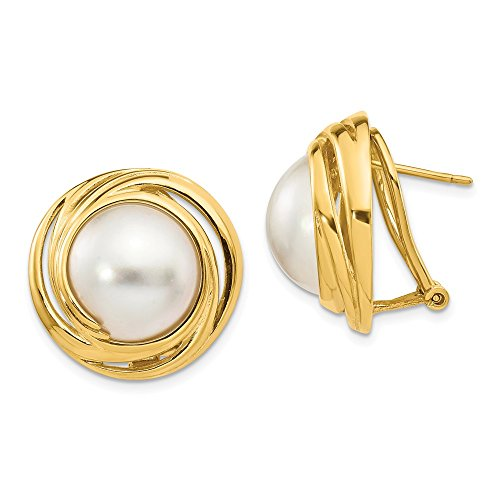 14K Yellow Gold White Akoya Saltwater Mabe Pearl Omega Back Earrings