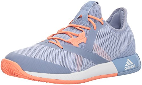 adidas Women's Adizero Defiant Bounce w Tennis Shoe, Blue/White/Chalk Coral, 8 M US