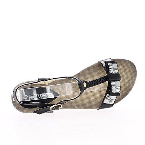 Sandali donna nero piccola zeppa 4cm