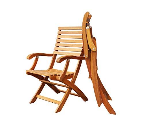 Interbuild Casino Fold Arm Chair | Golden Teak Finish |Foldable | 2-Piece Set