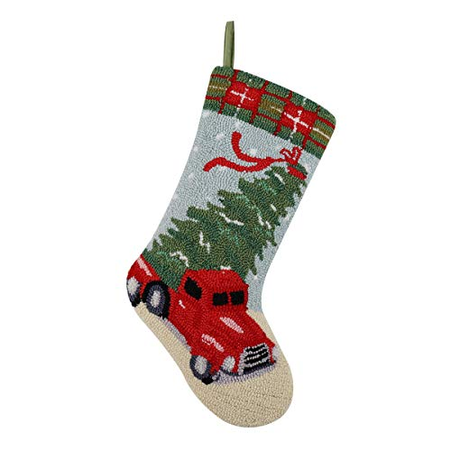 "Alice Doria 21"" Handmade Hooked Vintage Red Pickup Truck and Tree Christmas Stocking with Beautifully Detailed Pattern"
