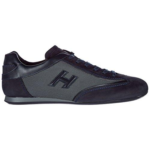 Hogan Chaussures Baskets Sneakers Homme en Daim Olympia Slash h 3D blu