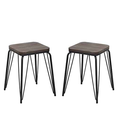 VH FURNITURE Stackable Indoor and Outdoor Metal Barstool with Wood Seat, 18 Inch, Set of 2, Black For Sale