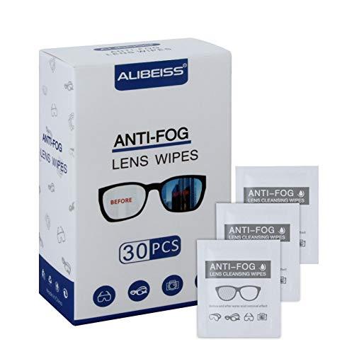Alibeiss Anti-Fog Lens Wipes Pre-Moistened Anti-Fog Wipes,6″ X 5″,for Eye Glasses (30 Pack)