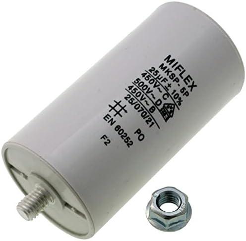 Condensador de Arranque del Motor 25µF 450V 45x 83mm, Conector M8; Miflex; 25uF