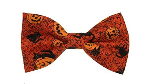 Men's Pumpkins/Black Cat Clip On Cotton Bow Tie Halloween Bowtie