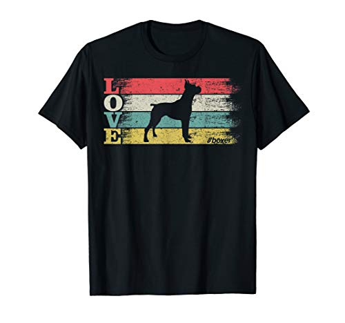 Vintage Retro Love Boxer Dog Silhouette Distressed Funny T-Shirt