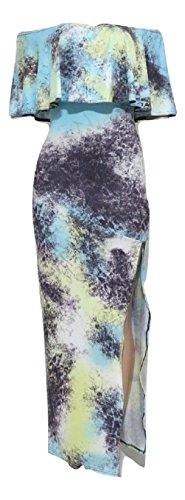 Imprimé Tie Dye Bleu Off épaule Maxi robe d'été Robe Jersey Long Parti robe taille XL UK 14EU 42
