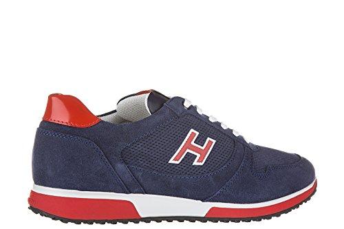 Hogan Zapatos Zapatillas de Deporte Hombres EN Ante Nuevo h198 Slash Blu