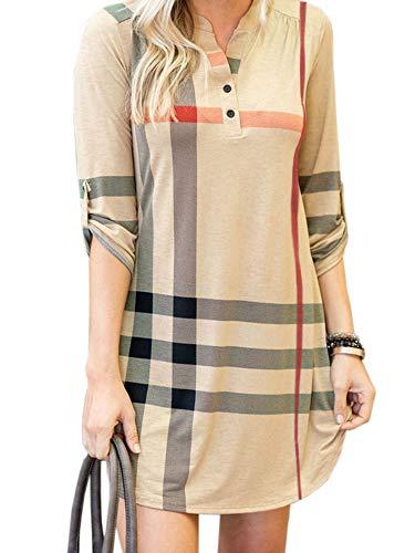 Chuanqi Womens 3/4 Roll Sleeve Plaid Tunic Dresses V Neck Button Henley T Shirt Midi Dress Khaki