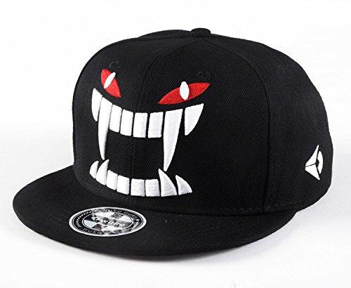 Quanhaigou Men's Black Snapback,Big Teeth Adjustable Baseball Hat 3D Embroidery Cartoon Caps -