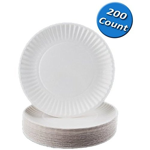 Nicole Home Collection 100 Count Everyday Dinnerware Paper Plate, 6-Inch, White (200 Count)