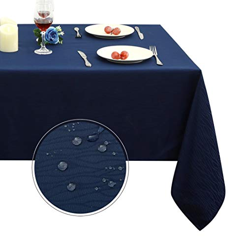 Obstal Rectangle Table Cloth, Oil-Proof Spill-Proof and Water Resistance Microfiber Tablecloth, Decorative Fabric Curve Table Cover for Outdoor and Indoor Use (Navy Blue, 60 x 102 Inch) (Microfiber Tablecloth)