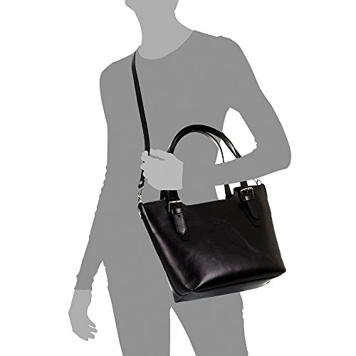 Colour Leather Italian Leather 25 37 10 nbsp;cm artegiani Tote Finish Design Women Tamponato nbsp;x Pelle Exclusive Made Black Women's Leather Tote Genuine in nbsp;x Vera Shoulder Firenze Bag Italy HwpqBXFX