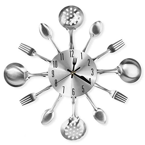 IBalody 14inch Kitchen Cutlery Wall Clock with Forks and Spoons for Home European Decor Creative Modern Simple Mute Big Watch Personality Sticker Decoration Quartz Silent Clock (Color : Silver)