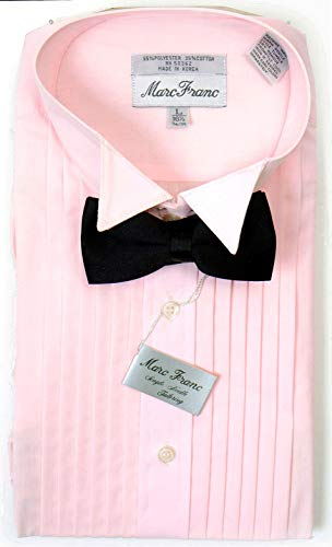 Broadway Tuxmakers Mens Wing Tip Studded Pink Tuxedo Shirt (Large 36/37)