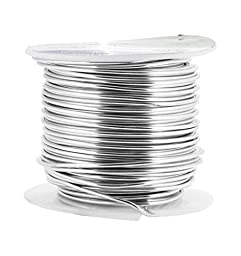 Mandala Crafts Colored Aluminum 16 Gauge Jewelry Making Beading Craft Wire, 100 Ft (Silver)
