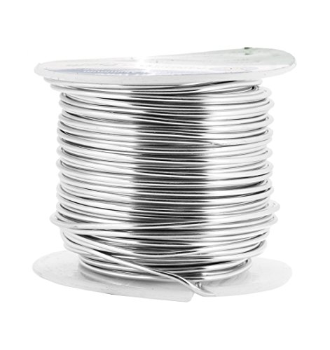 Mandala Crafts Anodized Aluminum Wire for Sculpting, Armature, Jewelry Making, Gem Metal Wrap, Garden, Colored and Soft, 1 Roll(16 Gauge, Silver)