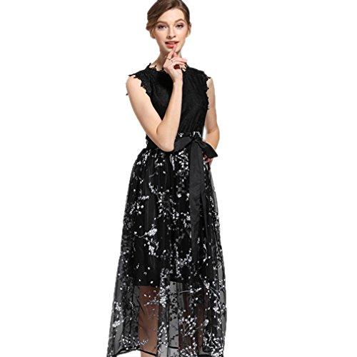 cotyledon Sleeveless Women`s Dress Mesh Scoop Lace Dresses Printed Neck aqatrPxwd6