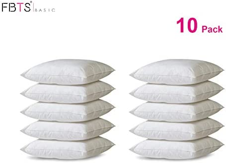 FBTS Basic Pillow Insert 10 Packs 18×18 Inch Square Sham Stuffer Premium Hypoallergenic Pillow Forms for Decorative Cushion Sofa Couch and Bed Pillows