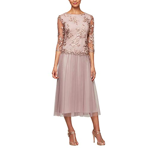 Alex Evenings Women's Sequin Lace Mock Dress (Petite and Regular), Antique Rose 18