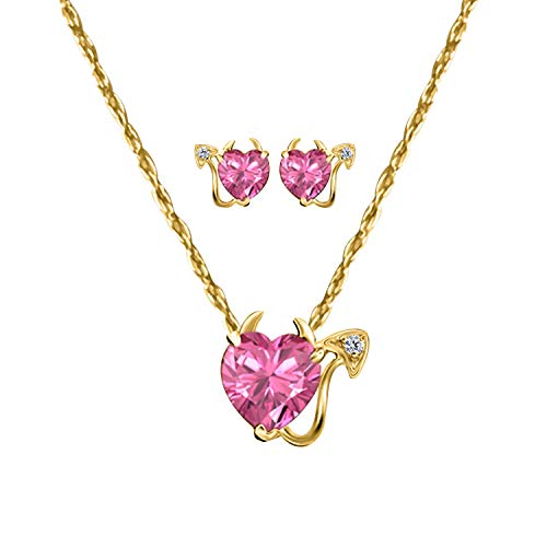 - Silver Gems Factory 14k Gold Plated Heart Shape Created Pink-Sapphire Devil Pendant Necklace Stud Earrings Sets for Birthday Gift