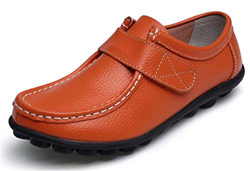 NEWZCERS Los zapatos suaves de la conducción de las mujeres calzan los zapatos del barco de los holgazanes de los planos de los planos de los zapatos naranja