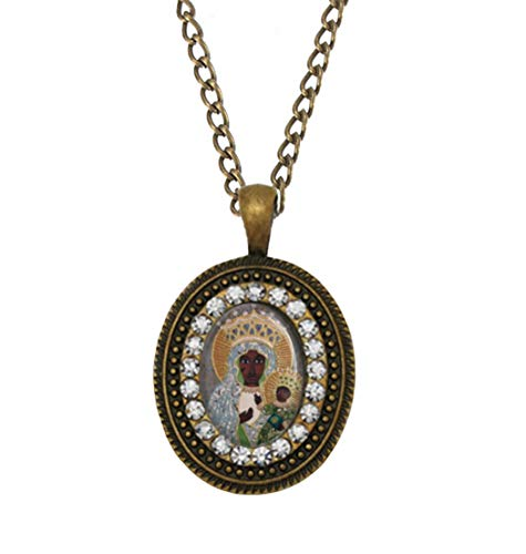 Realig Our Lady of Czestochowa Queen and Protector of Poland a Black Madonna Icon Bronze Necklace Oval Small Pendant w Rhinestones