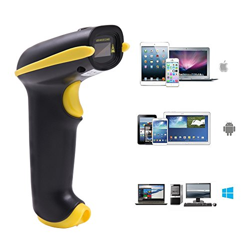 NADAMOO 2-In-1 Bluetooth & 2.4GHz Wireless Barcode Scanner 1D Handheld USB Cordless Laser Bar Code Reader Work With Ipad Iphone Android Phone Tablet Computer Supports Windows Mac OS Android IOS
