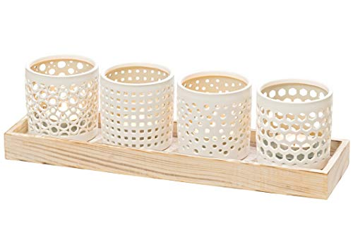 (WHW Whole House Worlds Naturally Modern Wind Light Centerpiece Collection on a Tray, Set of 5, Porcelain, Grainy Wood, White, Pale Blue, 12.5 L x 3.5 W x 3.5 H Inches)