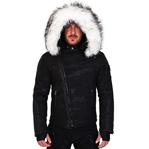 Bi Veste Hiver Mega Noir Homme matière Avec Doudoune Alpha Fourr Fury Fourrure Col Inclus Blanc 3382 wfAUfcxqXr