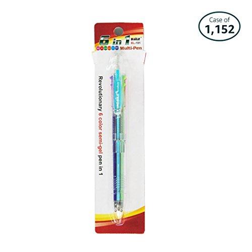 Case of 1152 Baile Grip 6 in 1 , 6 Color 0.7 mm Ballpoint Multi Pen, Semi-Gel(OBG) pen by BaiLe