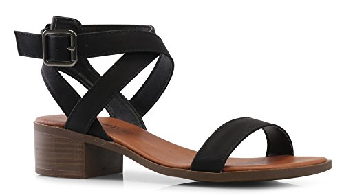 LUSTHAVE Women's Front Strap Ankle Wrap Adjustable Buckle Stacked Chunky Heel Gladiator Summer Dress Sandal Black Nubuck - Sandals Ladies Heels Leather Black