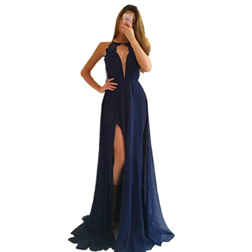 - LeoGirl Womens High Neck Keyhole Front Lace Chiffon Long Prom Dresses with Slit Sexy Open Back Formal Evening Gown (2, Navy Blue)