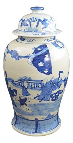 19'' Antique Finish Blue and White Porcelain Children Play Temple Ceramic Jar Vase, China Ming Style, Jingdezhen (L2) by Festcool (Image #3)
