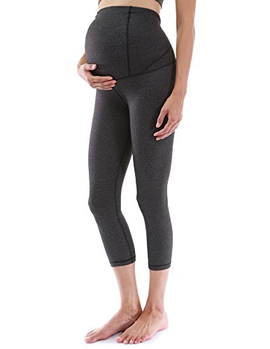 PattyBoutik Mama Shaping Series Maternity Crop Legging Yoga Pants (Heather Dark Gray Medium)