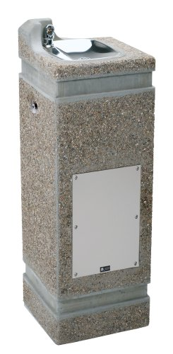 Haws 3121FR Vibra-Cast Reinforced Freeze-Resistant Square Concrete Pedestal Drinking Fountain with Exposed Aggregate Finish (Freeze-Resistant Valve Not Included)