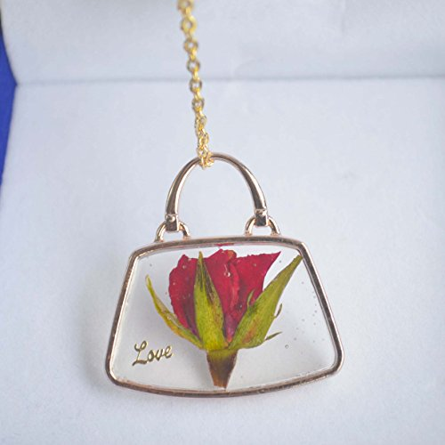 Red Rose Real Flower Resin Love Handbag 18K Gold Plated Long Necklace 26