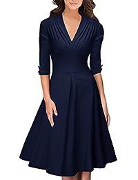 OWIN Women's Retro Deep-V Neck Half Sleeve Vintage Casual Swing Dress Party Dress