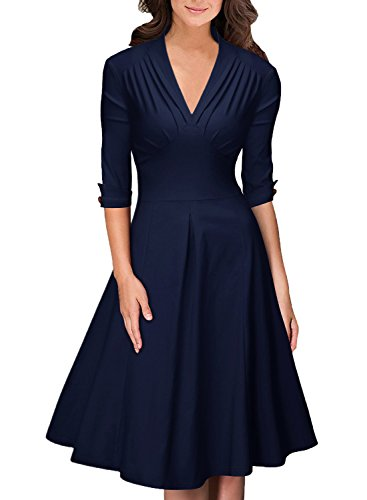 OWIN Women's Retro Deep-V Neck Half Sleeve Vintage Casual Swing Dress Party Dress