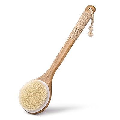 Uarter Bath Shower Body Brush Wooden Bristles Scrubber Body Massager with Long Handle