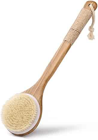 Uarter Bath Body Brush Wooden Bristles Scrubber Body Massager with Long Handle