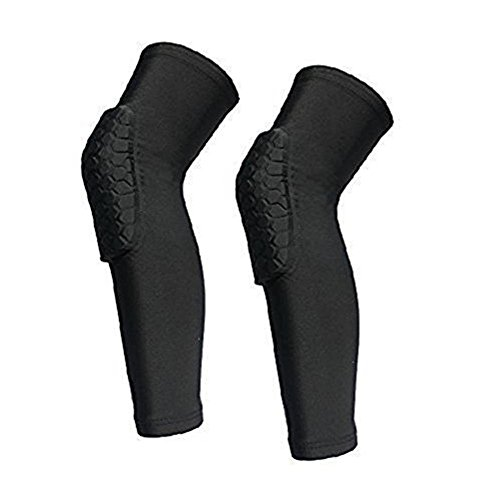 2 Pack (1 Pair) Protective Compression Wear - Men & Women Basketball Brace Support - Best to Immobilize, Strap & Wrap Knee for Volleyball, Football, Contact Sports - Snug & No Chafing Padded Knee Sleeves