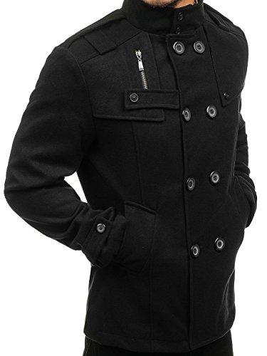 Negro Abrigo Cuello Hileras BOLF 4D4 Motivo Hombre De Alto Dos Botones S57vwq