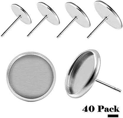 HOUSWEETY 30pcs Stainless Steel Stud Earring Cabochon Setting Post Cup Fit for 8mm