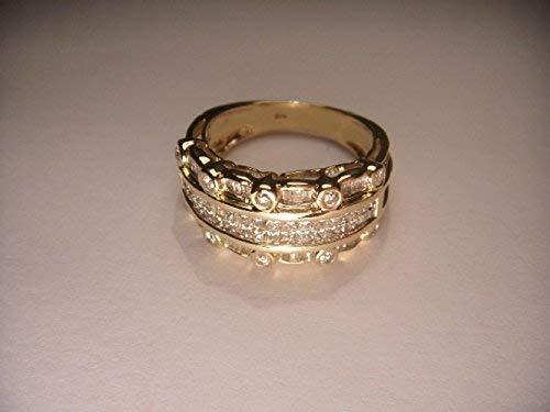 Unique Estate 14K Yellow Gold Princess Baguette Diamond Wide Wedding Band Ring