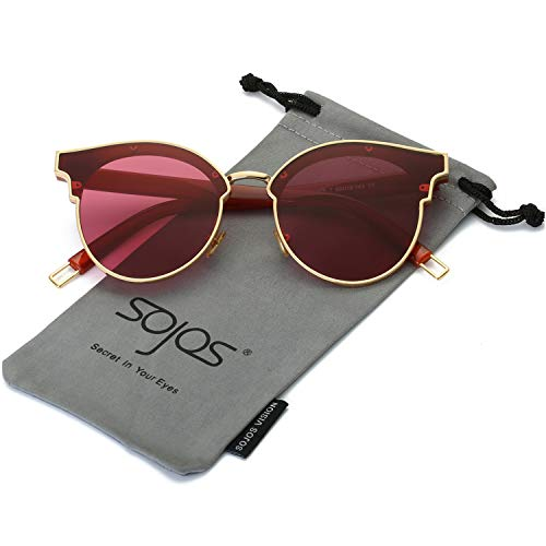 SOJOS Fashion Cateye Sunglasses for Women Oversized Flat Mirrored Lens SJ1055 with Gold Frame/Clear Burgundy ()