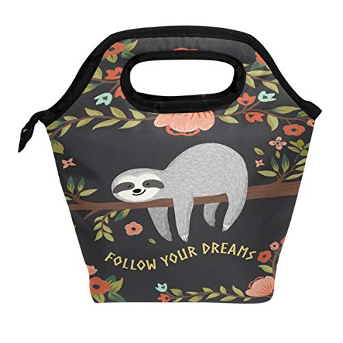 Wamika Kids Lunch Bag Funny Sloth On Tree Cute Animal Insulated Cooler Thermal Reusable Lunch Bag Box for School Children Students Girls Boys, Sloths Cat Tropical Flower Floral Lunch Box Bag Women Men ()