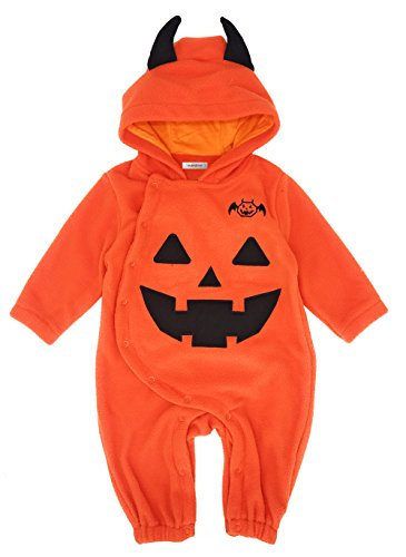 stylesilove Baby Toddler Halloween Fleece Chic Pumpkin Costume Hooded Romper (70/6-9 Months) -