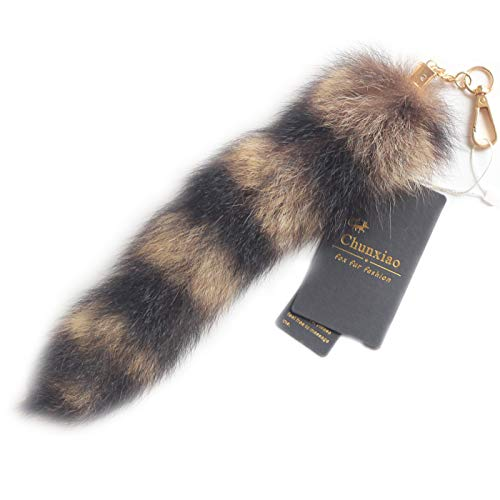 Chunxiao 10 inches Authentic America Raccoon Tail Fur Skin Cosplay Toy Handbag Accessories Key Chain Ring Hook ()